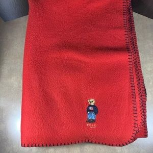 Ralph Lauren Red Fleece Bear Blanket